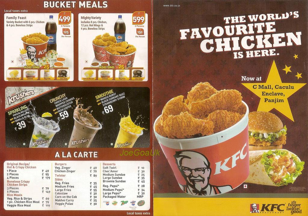 KFC Menu Panjim Goa
