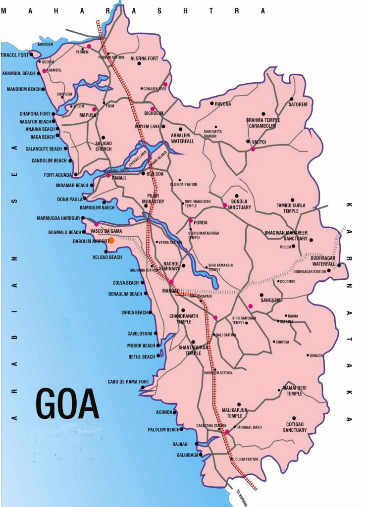Map Showing Important Beaches of Goa
